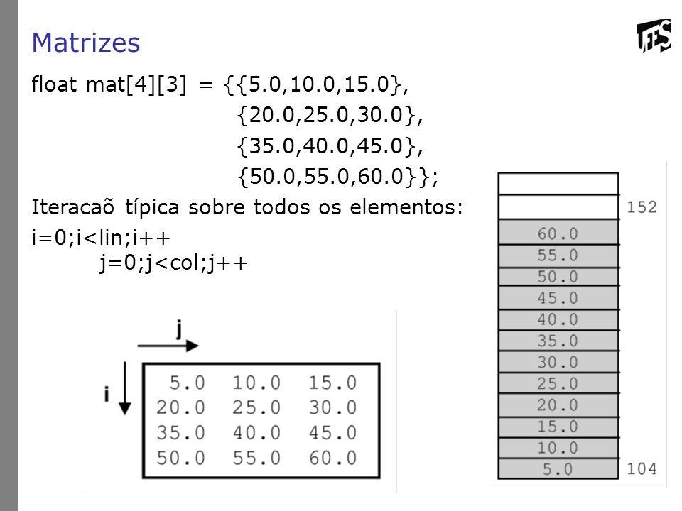 Matrizes float mat[4][3] = {{5.0,10.0,15.0}, {20.0,25.0,30.0},